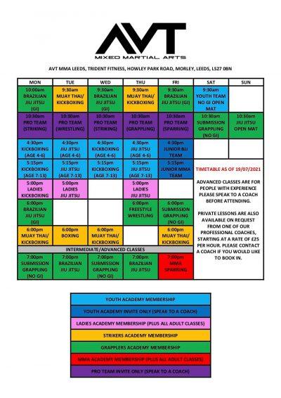 AVT MMA Leeds Timetable